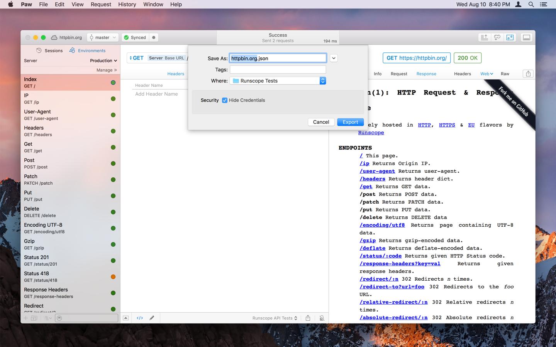 Runscope API Test Generator - Screenshot