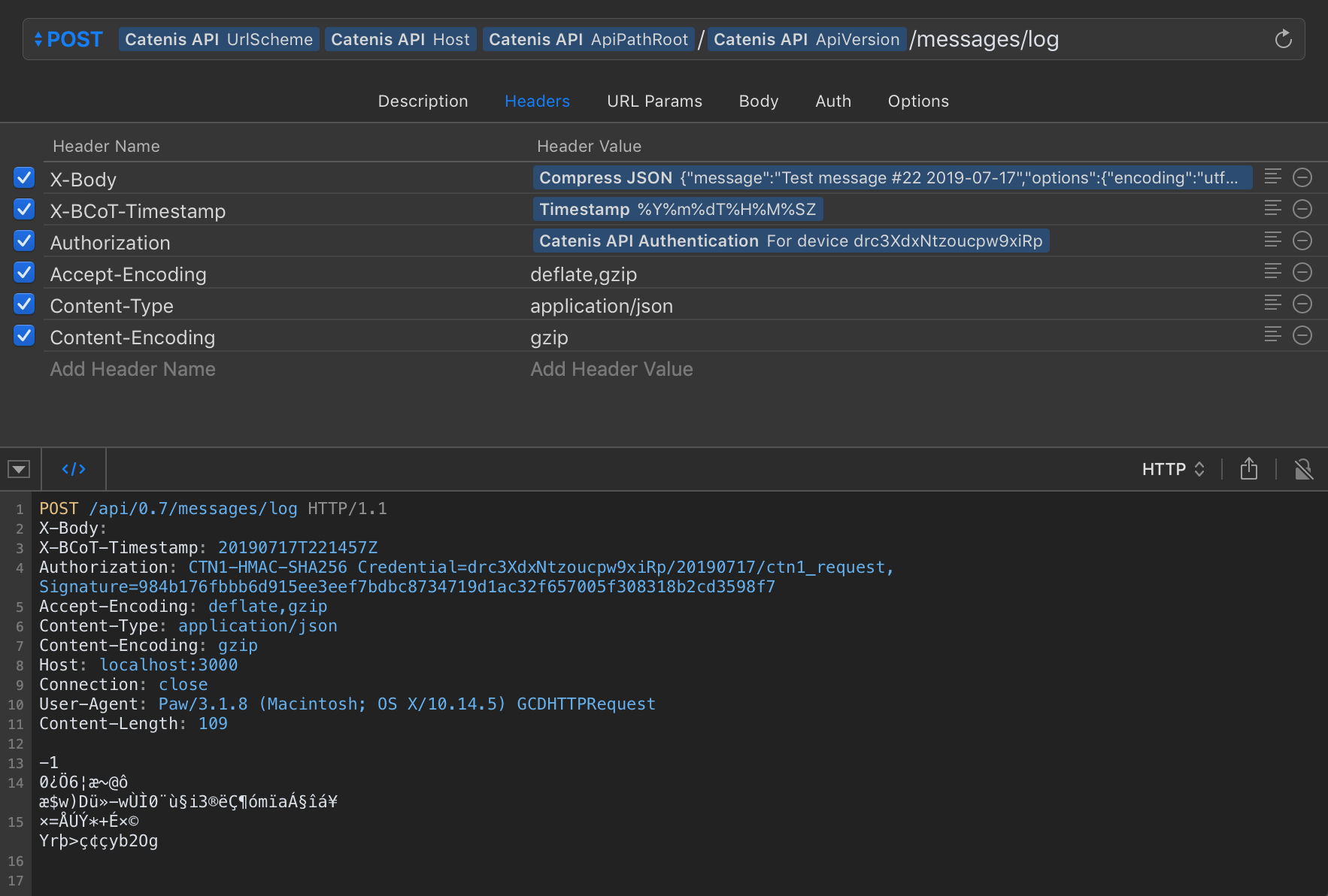 Compress JSON Body - Screenshot
